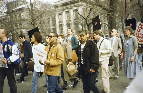 ACT UP protest at City Hall.  1989