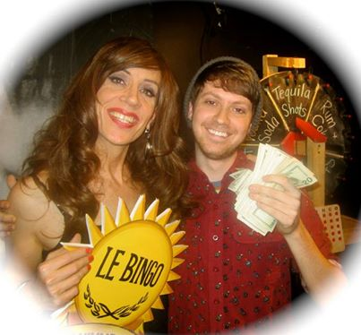Le Bingo hostess Linda Simpson poses with a Big Winner!