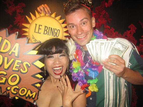 Big Winner celebrates at Le Bingo with spokesmodel Calamity Chang! (Every Saturday at Le Poisson Rouge!)