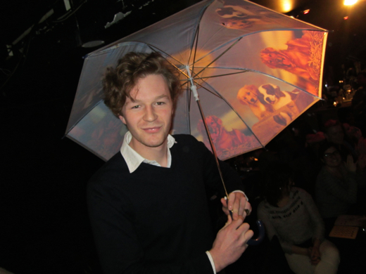 Irish lad wins an doggie-pattern umbrella!