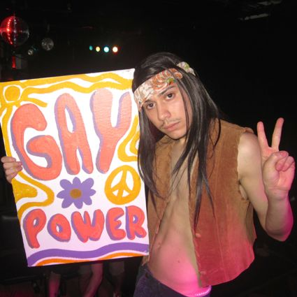 Robert as a hippie go-go dancer.