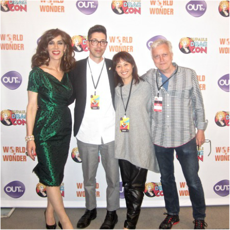 Step & Repeat! With Josh (my trusty projectionist) and Kayoko and Poul (my gracious L.A. hosts).